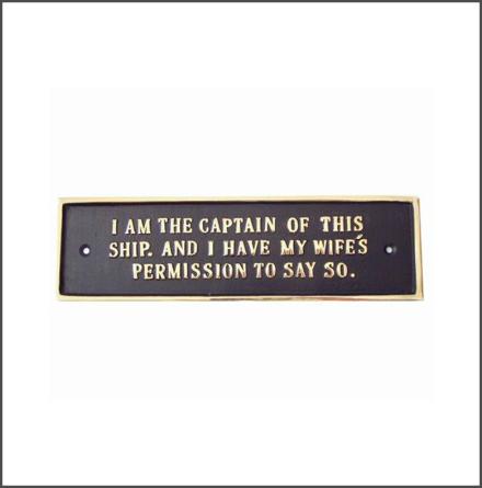 Mässingsskylt - I am the Captain...