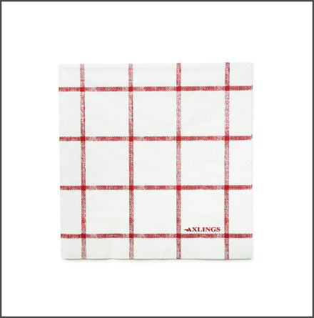 Pappservett Köksruta Röd
