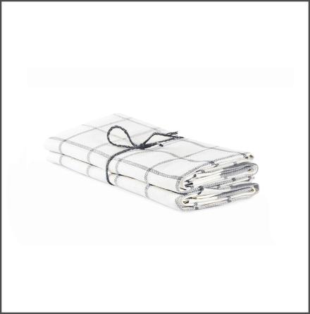 Handduk Köksruta benvit-ljusgrå