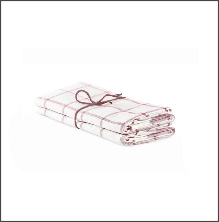 Handduk Köksruta benvit-rosa