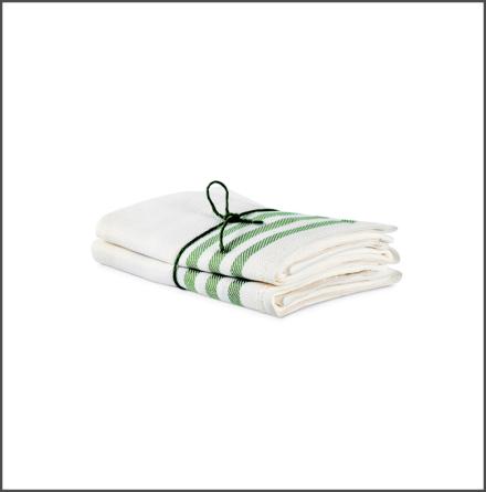 Handduk Diagonal benvit-bladgrön