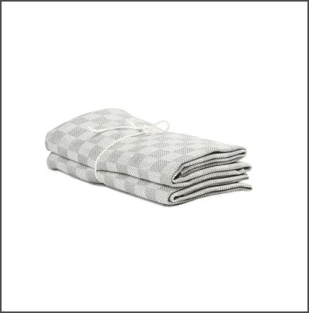 Handduk Schack ljusgrå-vit