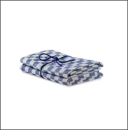 Handduk Schack marin-vit