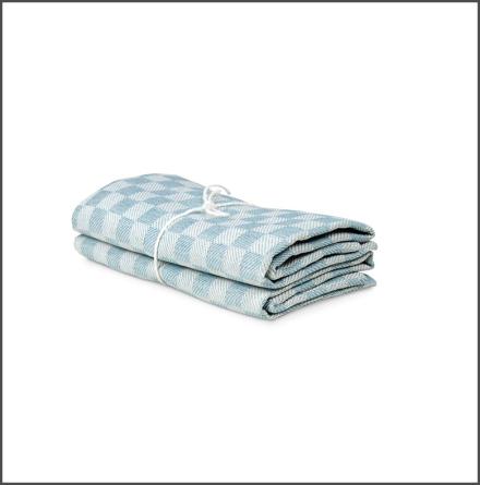 Handduk Schack isblå-vit