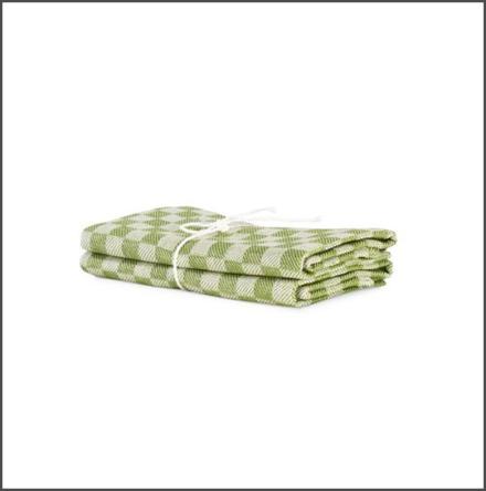 Handduk Schack bladgrön-vit