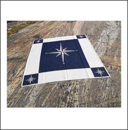 Bomullspläd Kompassros marin/natur